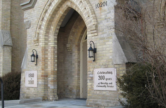 Richmond Hill United Church entrance - celebrating 200 years